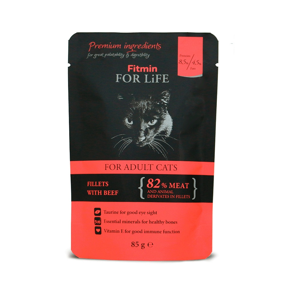 FITMIN Cat For Life Pouch Adult Beef kapsička 85g